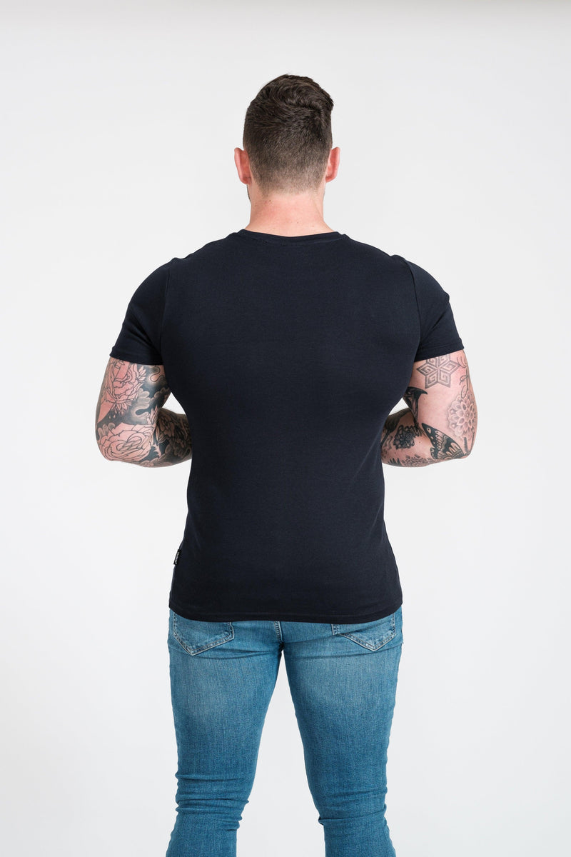 Navy Mens Tapered Fit T-Shirt. A Proportionally Fitted and Muscle Fit T-Shirt. Ideal for athletes.
