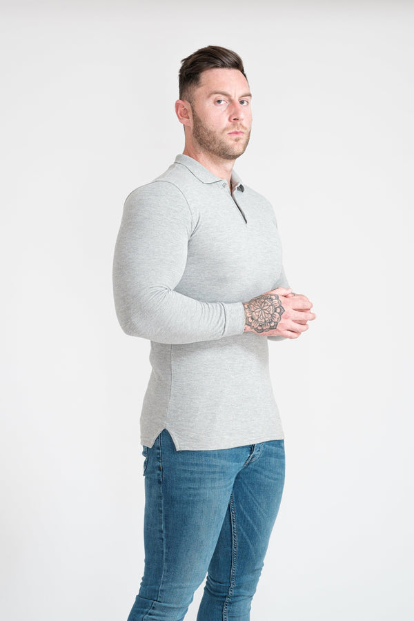 Mens Grey Tapered Fit Polo Shirt. A Proportionally Fitted and Muscle Fit Polo in Grey. Ideal for bodybuilders.