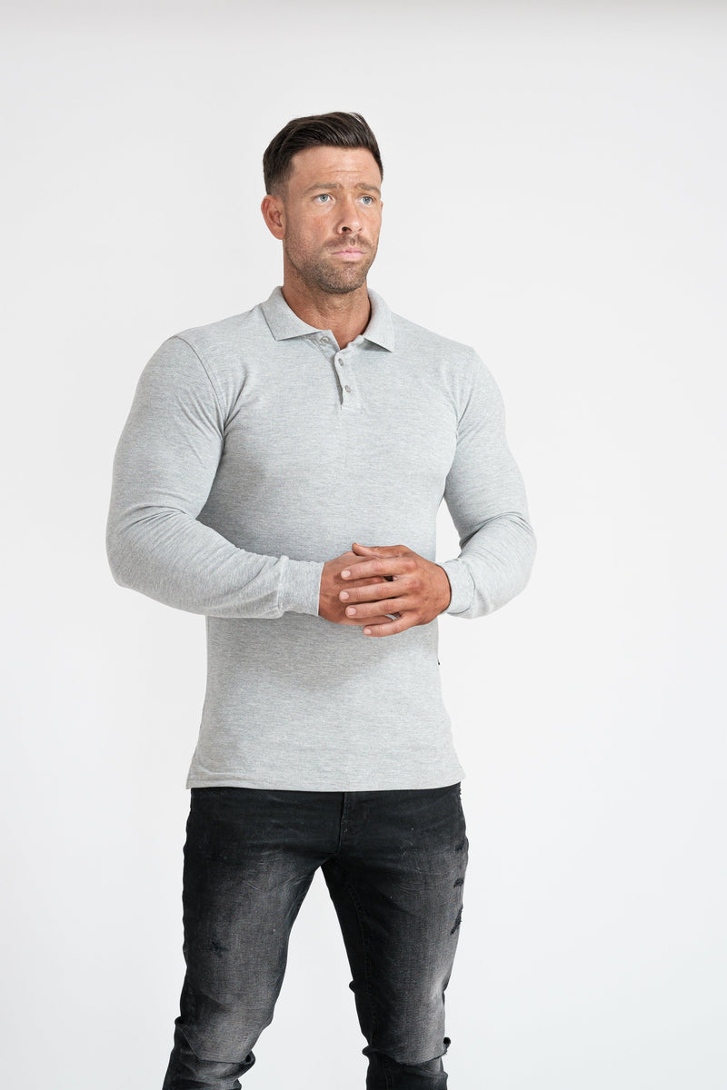 Mens Grey Muscle Fit Polo Shirt. A Proportionally Fitted and Muscle Fit Polo. Ideal for bodybuilders.