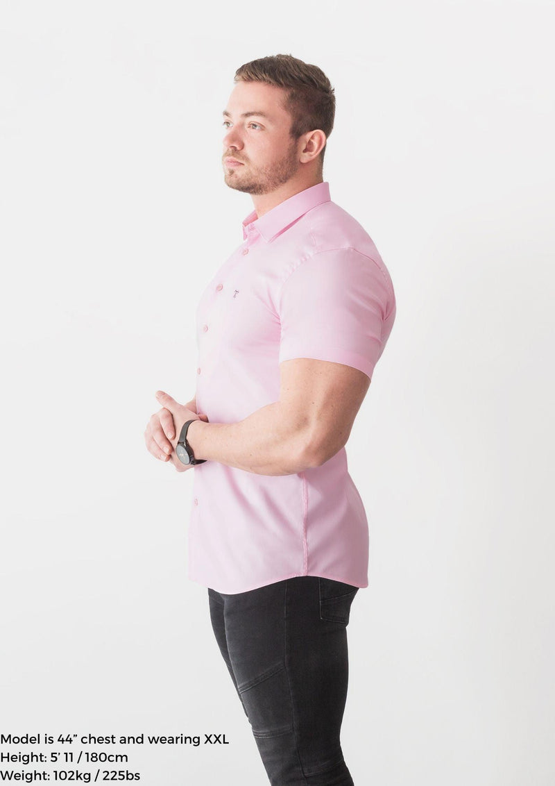Pink Short Sleeve Tapered Fit Shirt Side. A Proportionally Fitted and Comfortable Short Sleeve Muscle Fit Shirt.