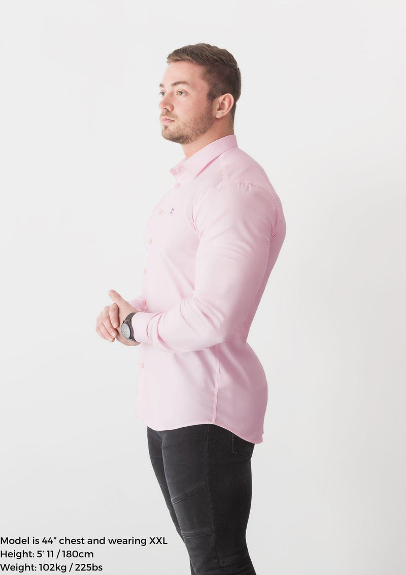 Light Pink Tapered Fit Shirt For Men. A Proportionally Fitted and Pink Muscle Fit Shirt. Ideal for bodybuilders.