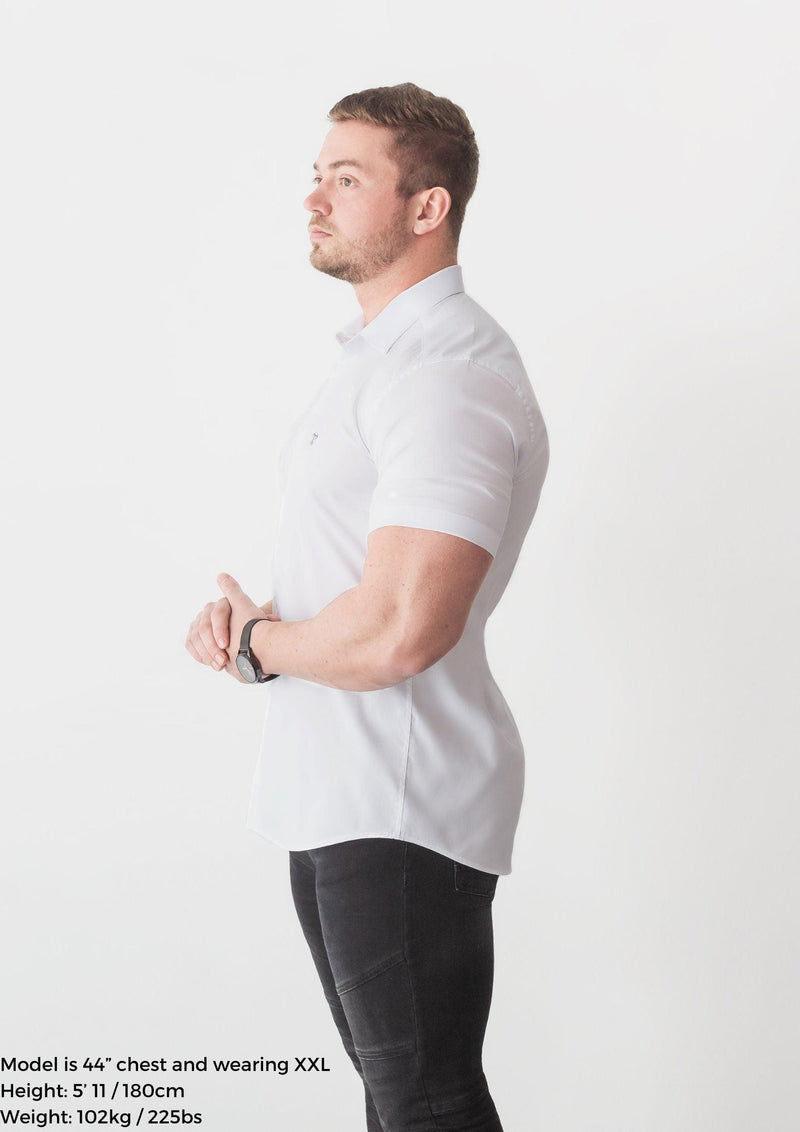 White Short Sleeve Tapered Fit Shirt Side. A Proportionally Fitted and Comfortable Short Sleeve Muscle Fit Shirt.