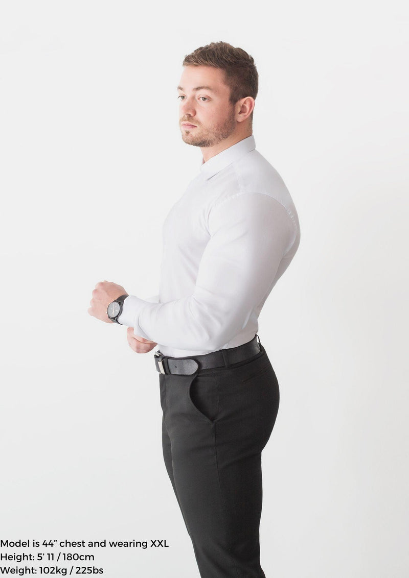 White Tapered Fit Shirt For Men. A Proportionally Fitted and white Muscle Fit Dress Shirt. Ideal for bodybuilders.