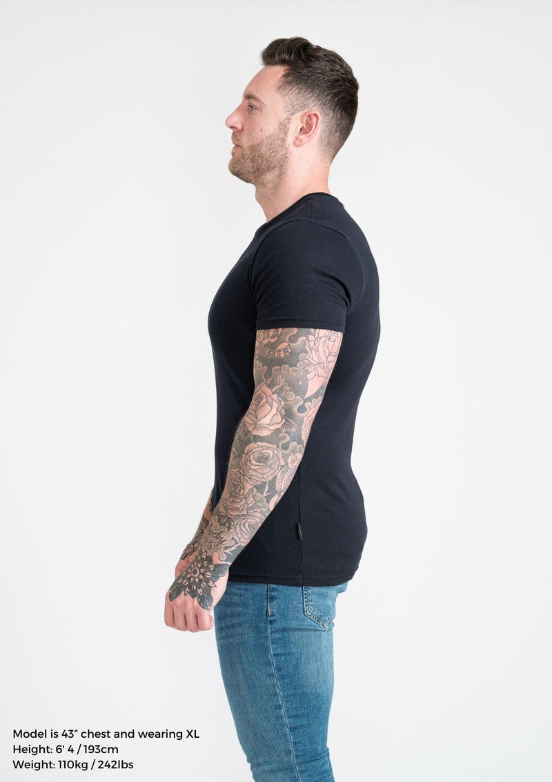 Navy Mens Tapered Fit T-Shirt. A Proportionally Fitted and Muscle Fit T Shirt. Ideal for athletes.