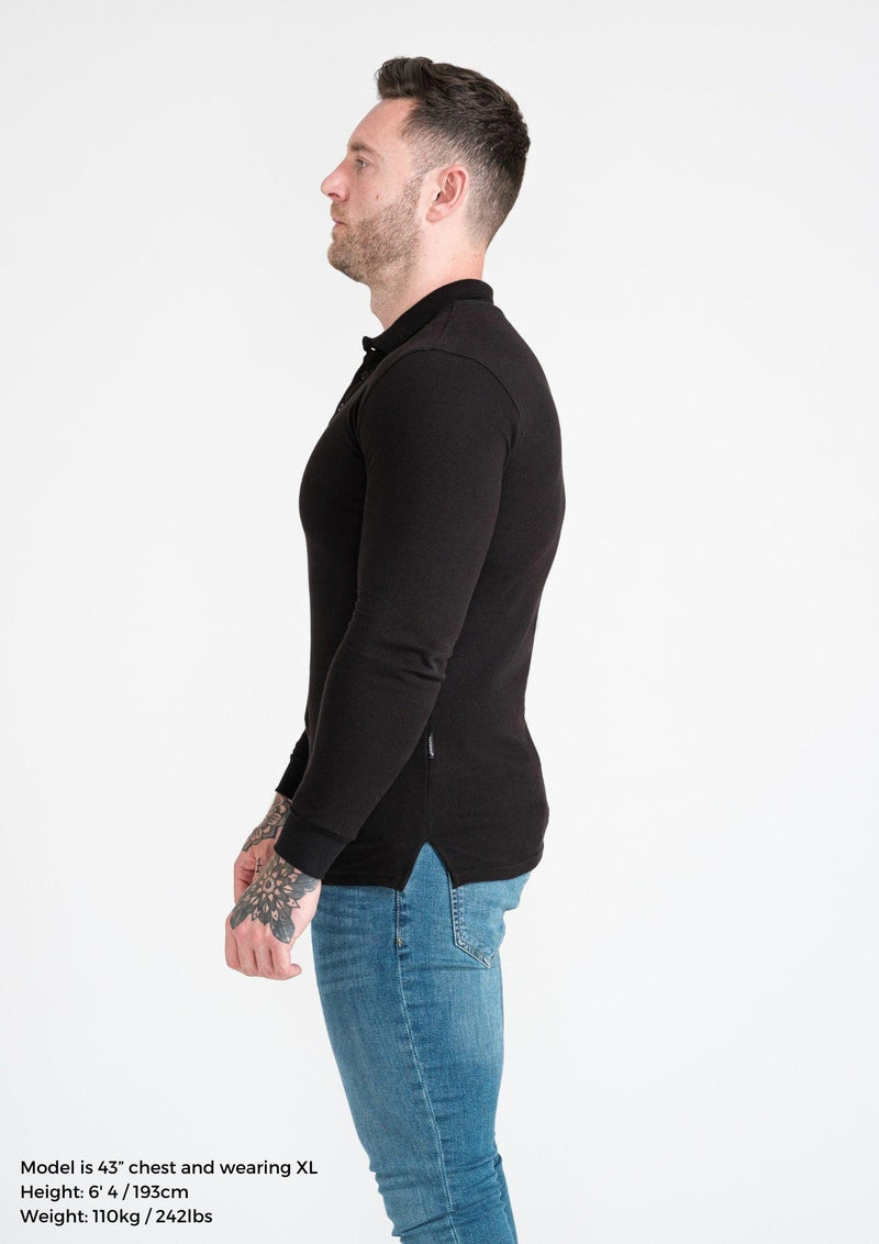 Long Sleeve Black Muscle Fit Polo. A Proportionally Fitted and Atheltic Fit Polo. Ideal for bodybuilders.