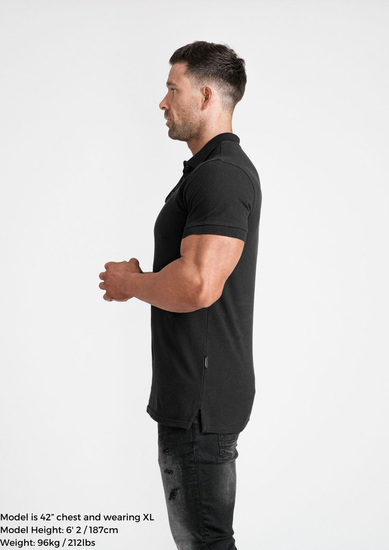 Muscle Fit Black Polo Shirt. A Proportionally Fitted and Muscle Fit Polo in Black. Ideal for bodybuilders.