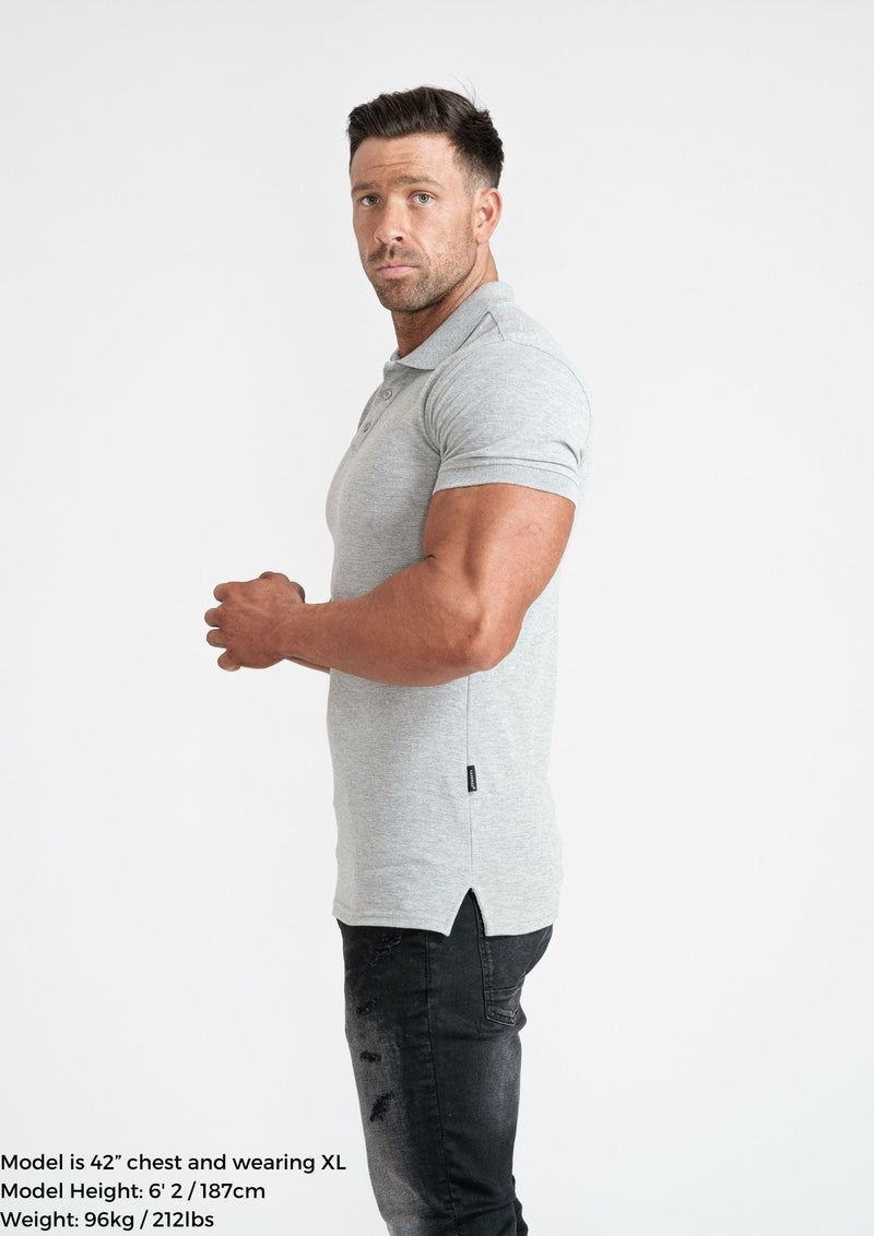 Grey Atheltic Fit Polo Shirt For Men. A Proportionally Fitted and Athletic Fit Polo. Ideal for muscular guys.