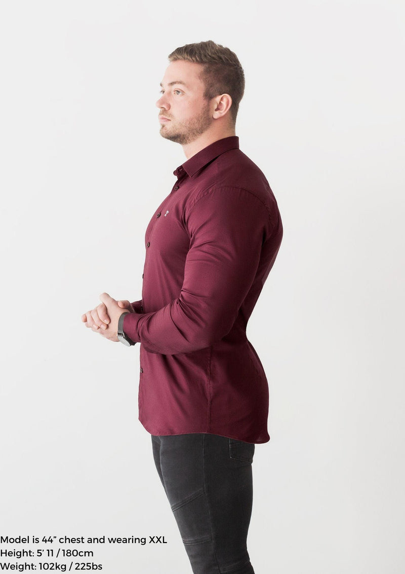 Burgundy Tapered Fit Shirt side. A Proportionally Fitted and Comfortable Muscle Fit Shirt. Ideal for bodybuilders