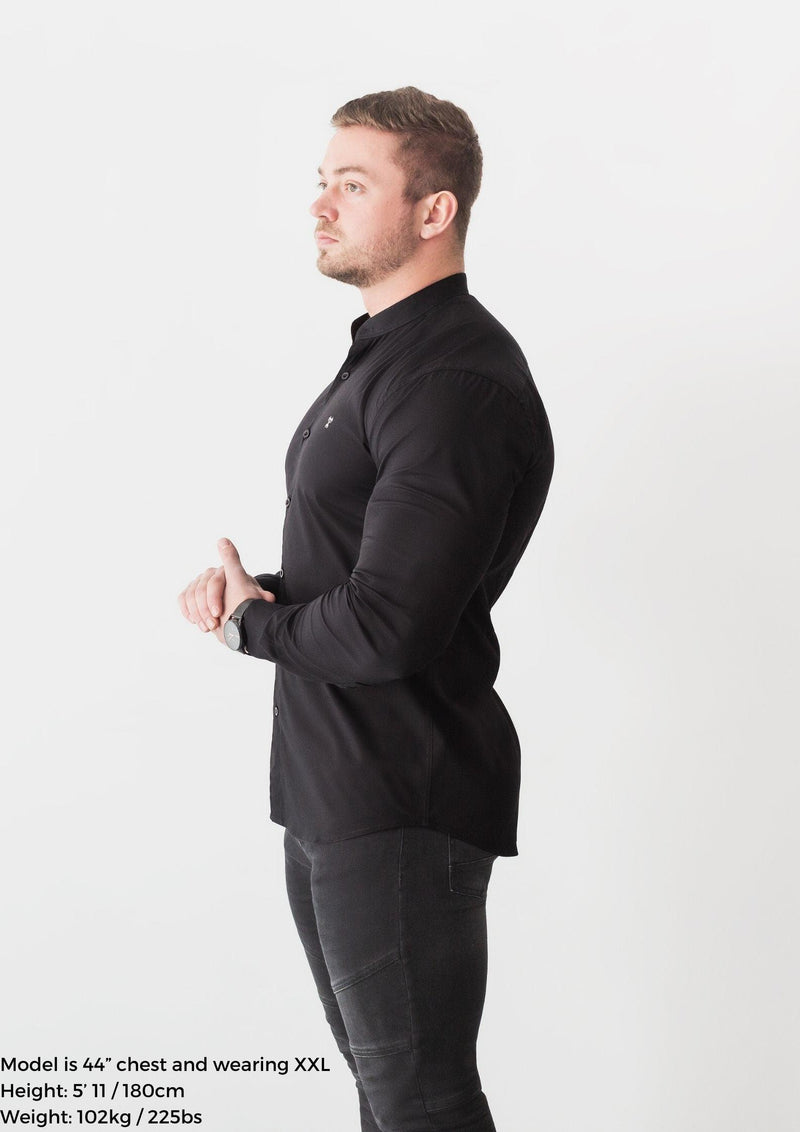 Grandad Collar Black Tapered Fit Shirt Side. A Proportionally Fitted and Comfortable Muscle Fit Shirt. Ideal for bodybuilders
