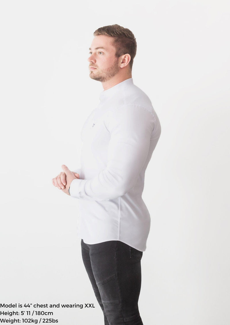 Grandad Collar White Tapered Fit Shirt