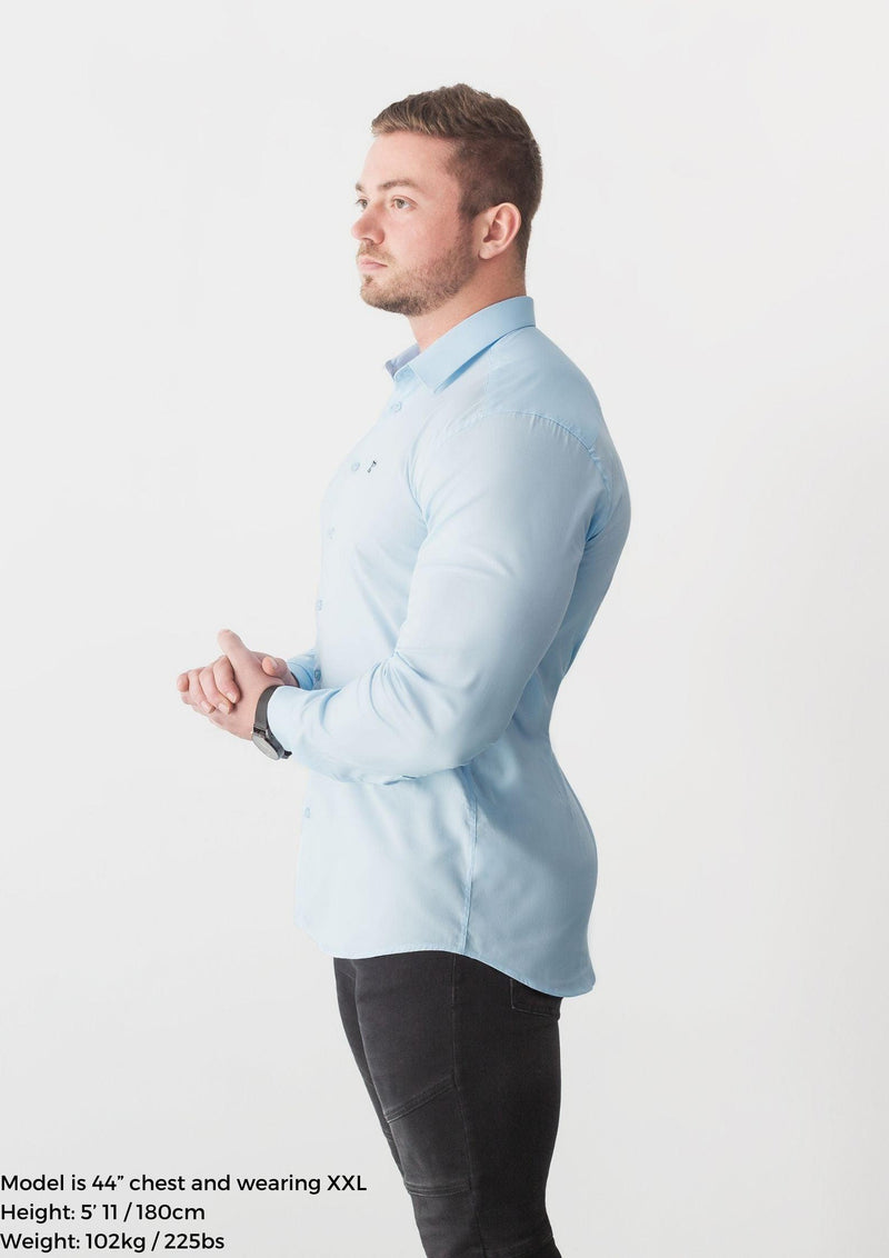 Baby Blue Tapered Fit Shirt. A Proportionally Fitted and Comfortable Muscle Fit Shirt. Ideal for bodybuilders