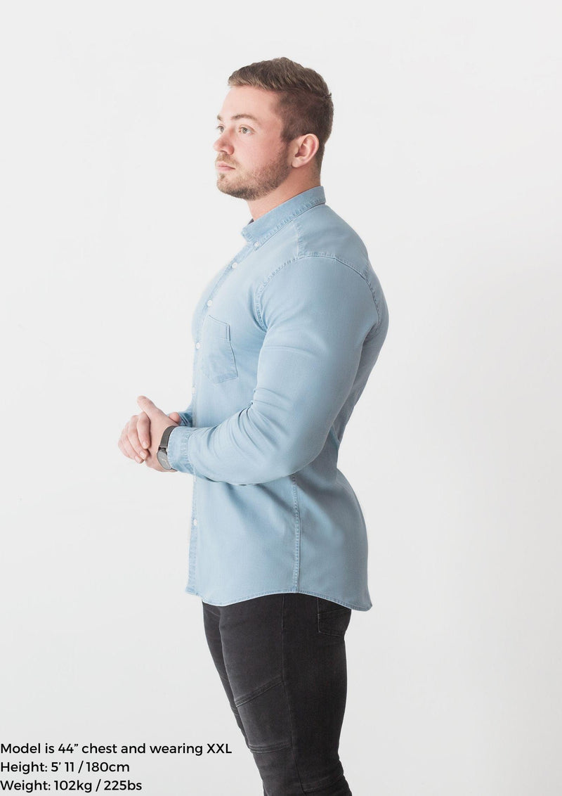 Baby Blue Denim Tapered Fit Shirt. A Proportionally Fitted and Comfortable Muscle Fit Shirt. Ideal for bodybuilders