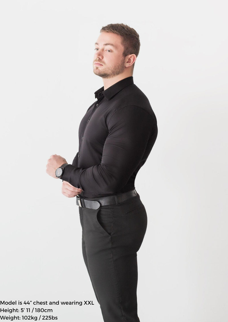 Black Tapered Fit Shirt Side. A Proportionally Fitted and Comfortable Muscle Fit Shirt. Ideal for bodybuilders.