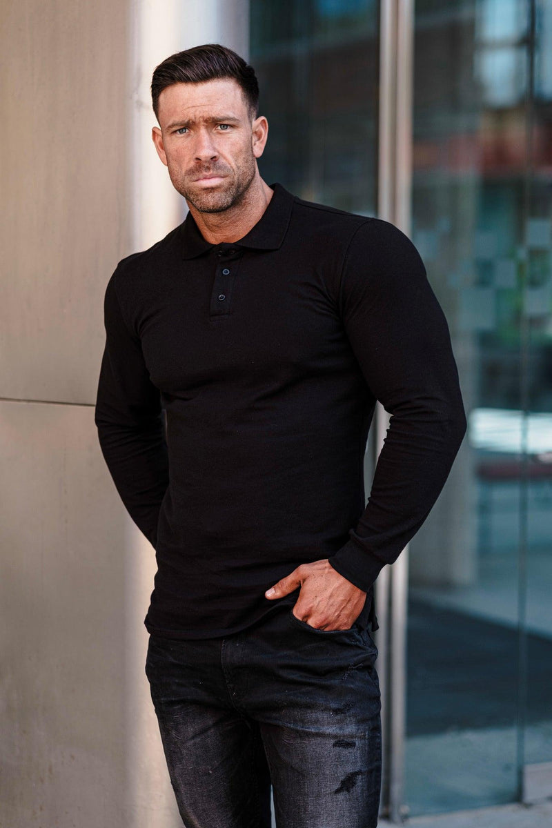 Muscle fit black polo shirt for Men. A Proportionally Fitted and Muscle Fit polo. Ideal for muscular guys.