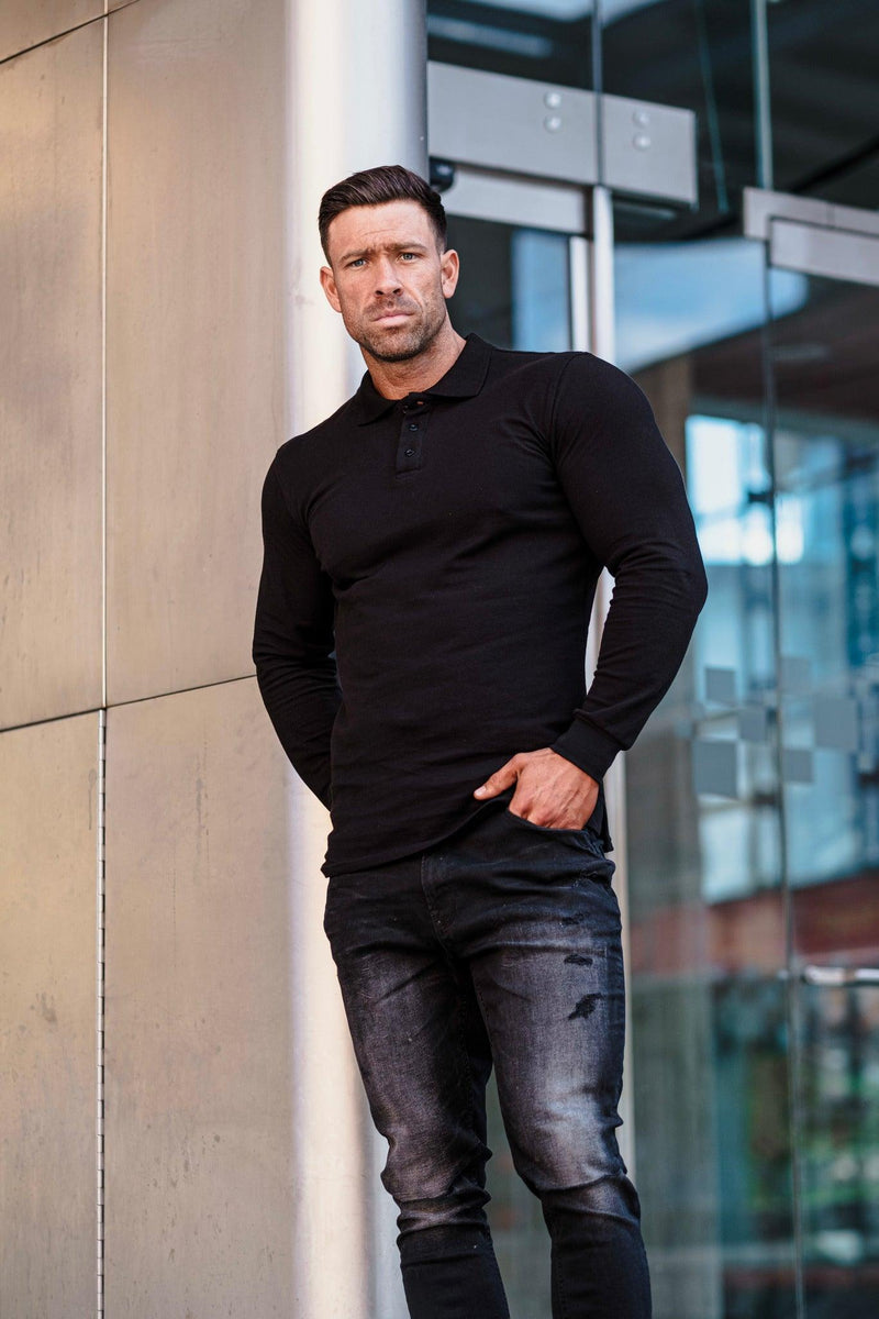 Muscle fit black polo shirt. A Proportionally Fitted and Muscle Fit polo. Ideal for muscular guys.