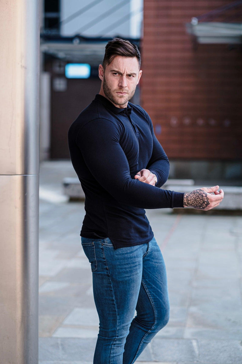 Navy Muscle Fit Polo. A Proportionally Fitted and Muscle Fit Polo Shirt. Ideal for muscular guys.