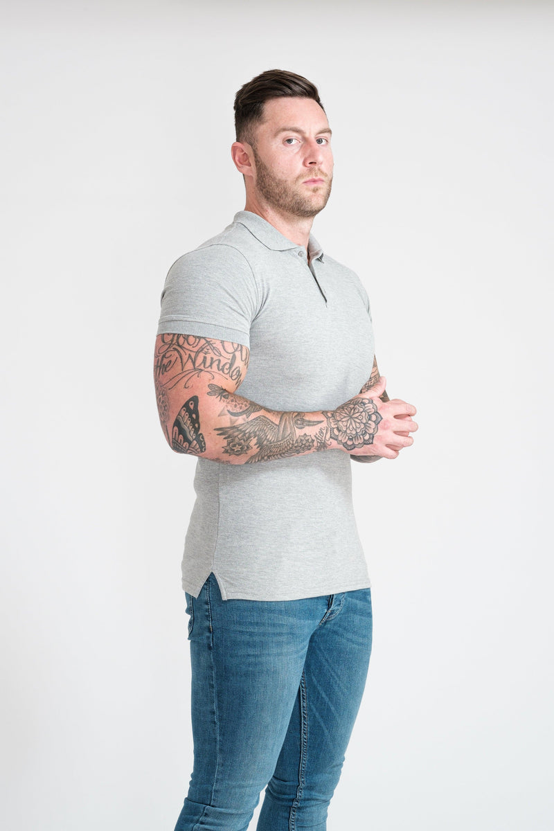 Short Sleeve Grey Muscle Fit Polo Shirt. A Proportionally Fitted and Muscle Fit Polo. Ideal for muscular guys.