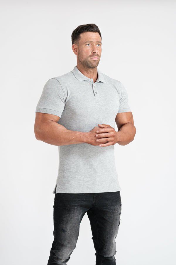 Grey Tapered Fit Polo Shirt For Men. A Proportionally Fitted and Tight Polo Shirt. Ideal for muscular guys.