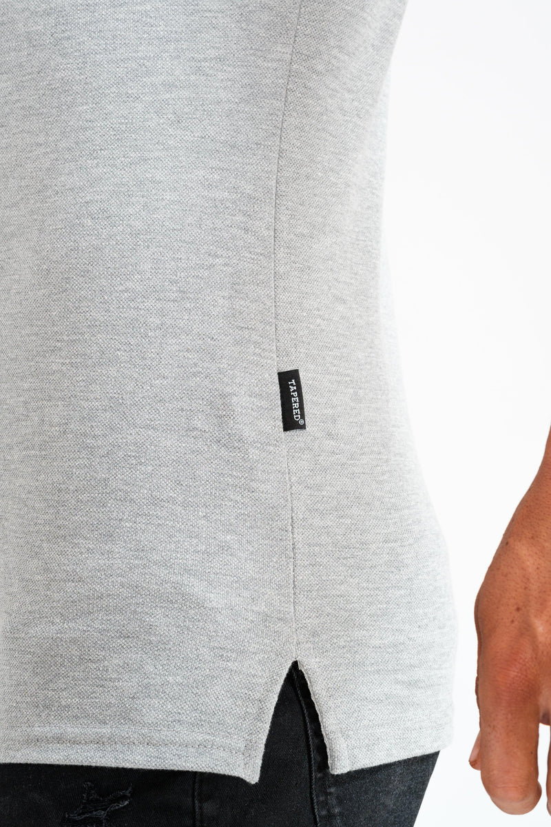 Long Sleeve Grey Tapered Fit Polo Shirt