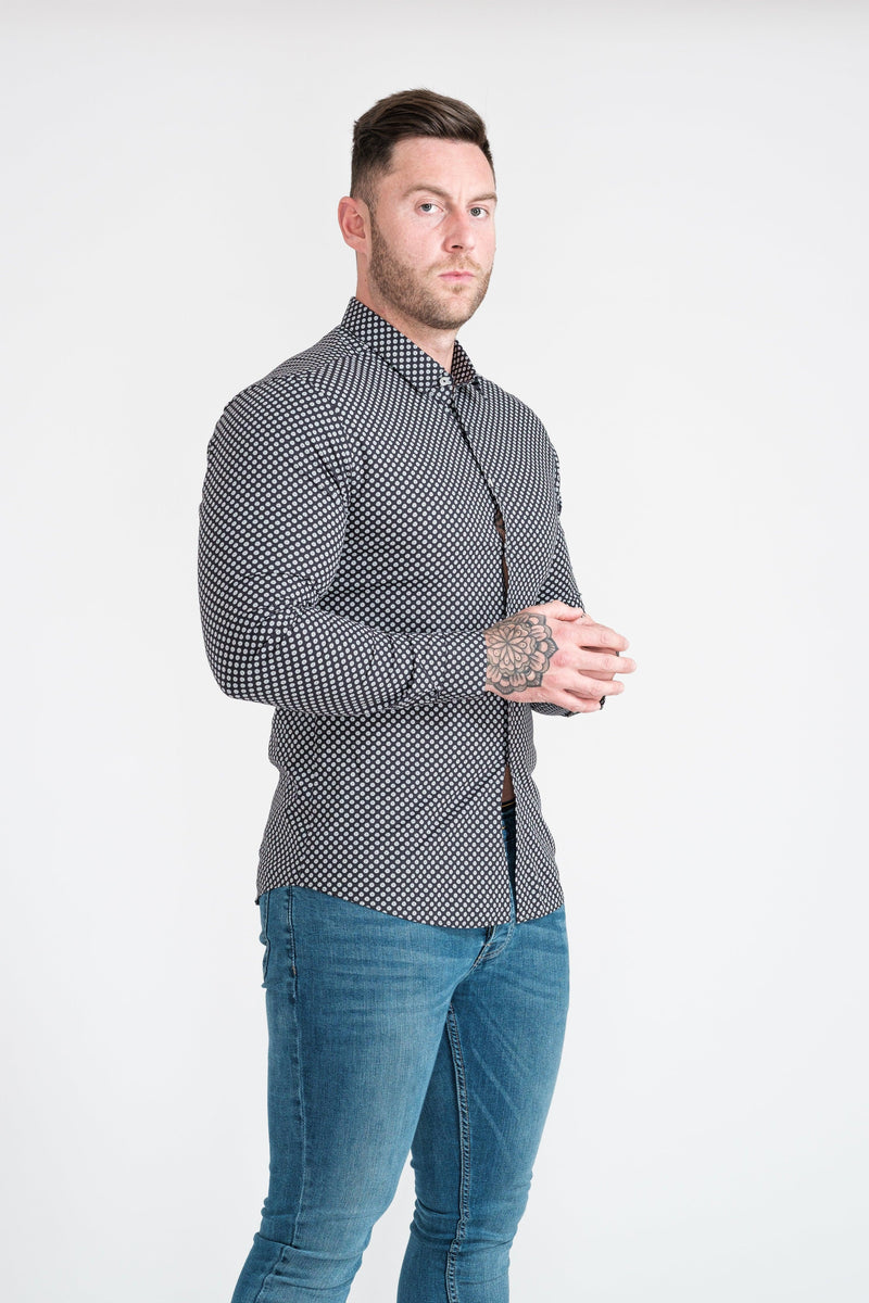Floral Athletic Fit Shirt. A Proportionally Fitted and Comfortable Athletic Fit Shirt. Ideal for bodybuilders