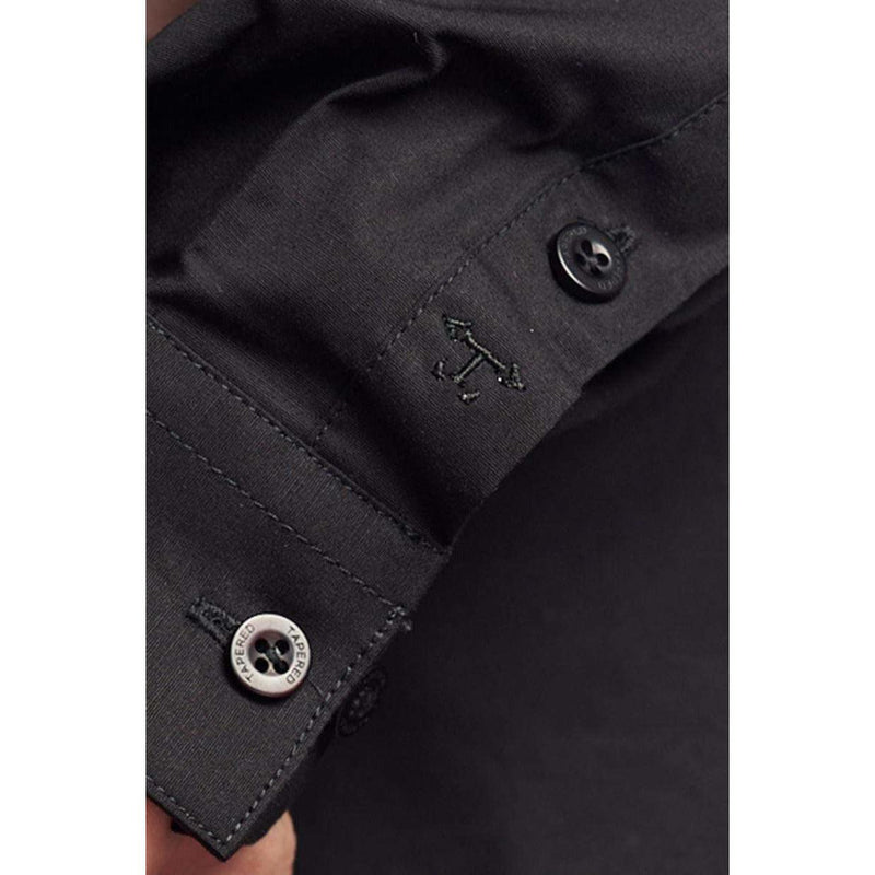 Black Tapered Fit Shirt embroidery on cuff