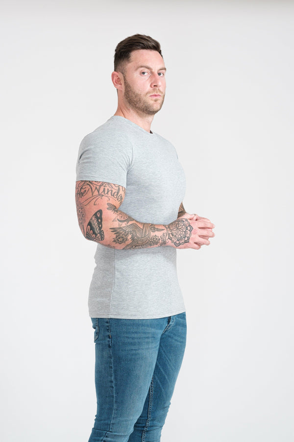 Grey Tapered Fit T-Shirt For Men. A Proportionally Fitted and Muscle Fit T-Shirt. Ideal for athletes.
