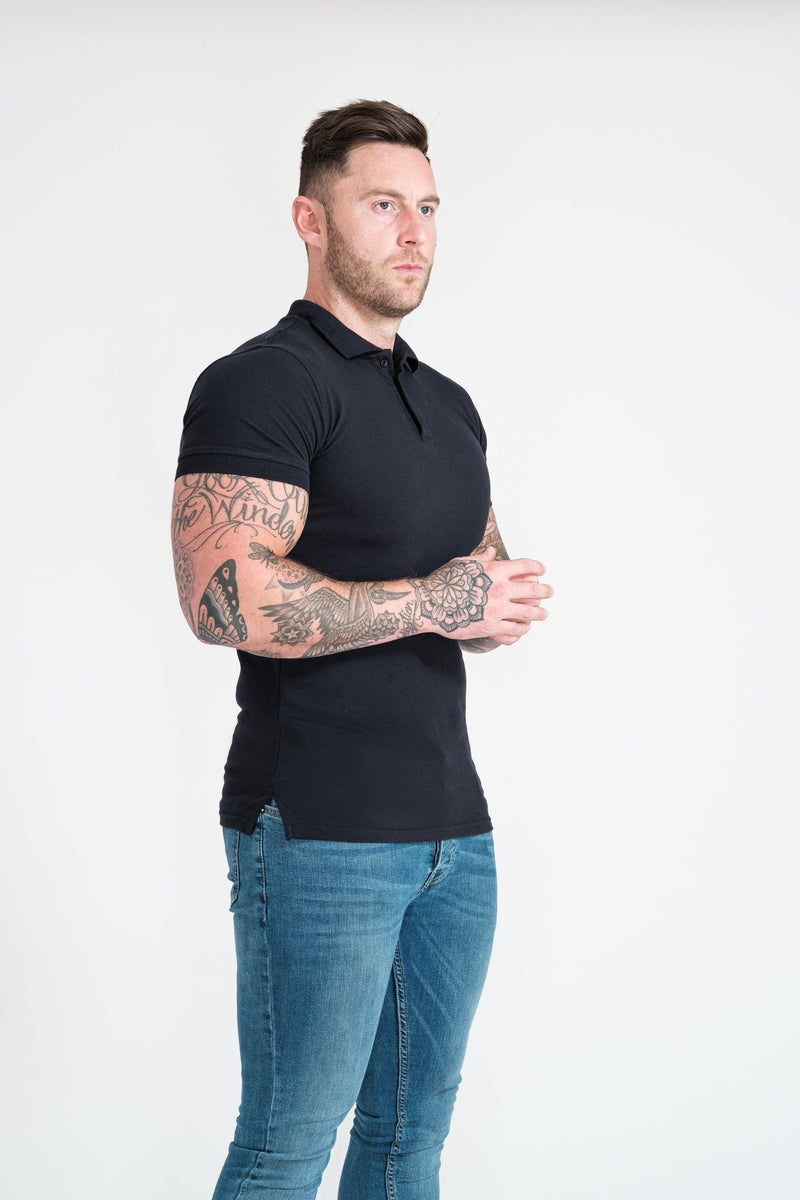 Athletic Fit Polo in Navy For Men. A Proportionally Fitted and Athletic Fit Polo. Ideal for muscular guys.