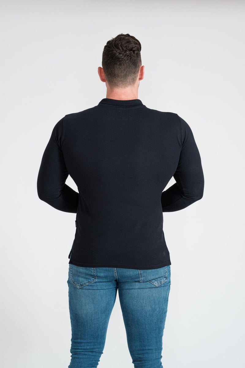 Mens Navy Athletic Fit Polo Shirt. A Proportionally Fitted and Athletic Fit Polo. Ideal for bodybuilders.