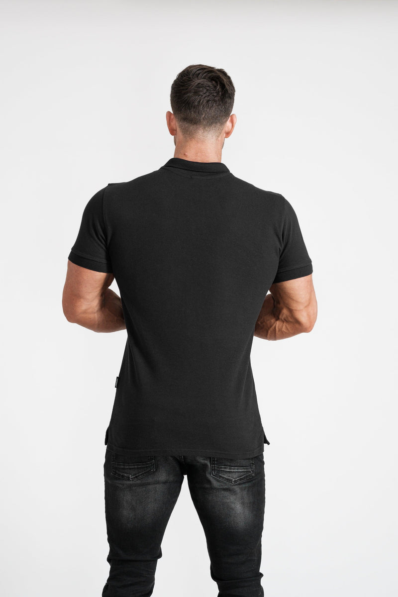 Mens Black Muscle Fit Polo Short Sleeve Shirt. A Proportionally Fitted and Muscle Fit Polo. Ideal for muscular guys.