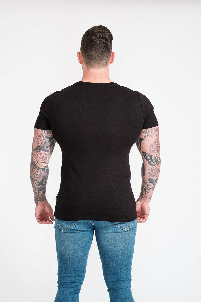 Mens Black Tapered Fit T-Shirt. A Proportionally Fitted and Muscle Fit TShirt. Ideal for muscular guys.