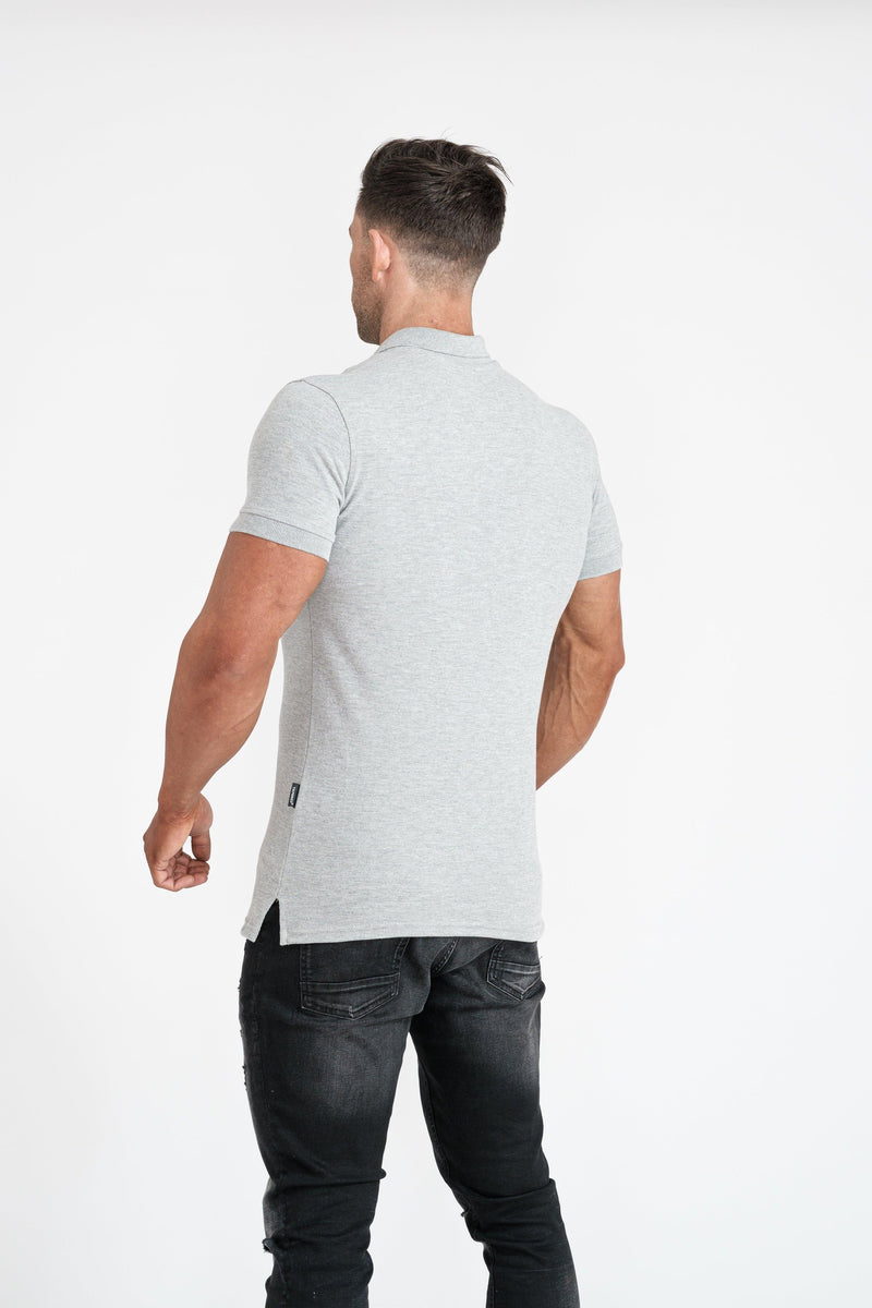 Grey Muscle Fit Polo Shirt. A Proportionally Fitted and Muscle Fit Polo. Ideal for muscular guys.