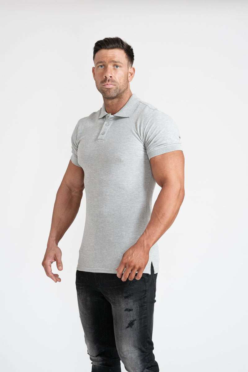 Grey Muscle Fit Polo Shirt For Men. A Proportionally Fitted and Muscle Fit Polo. The best polo shirts for muscular guys.