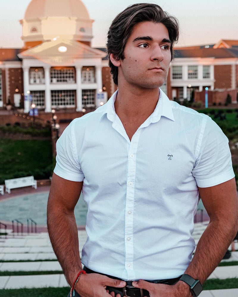 White Short Sleeve Tapered Fit Shirt
