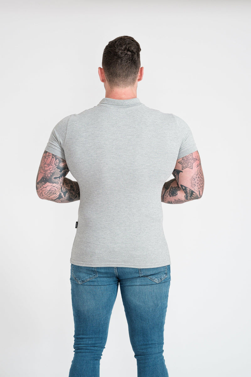 Mens Muscle Fit Grey Polo. A Proportionally Fitted and Muscle Fit Polo. Ideal for muscular guys.