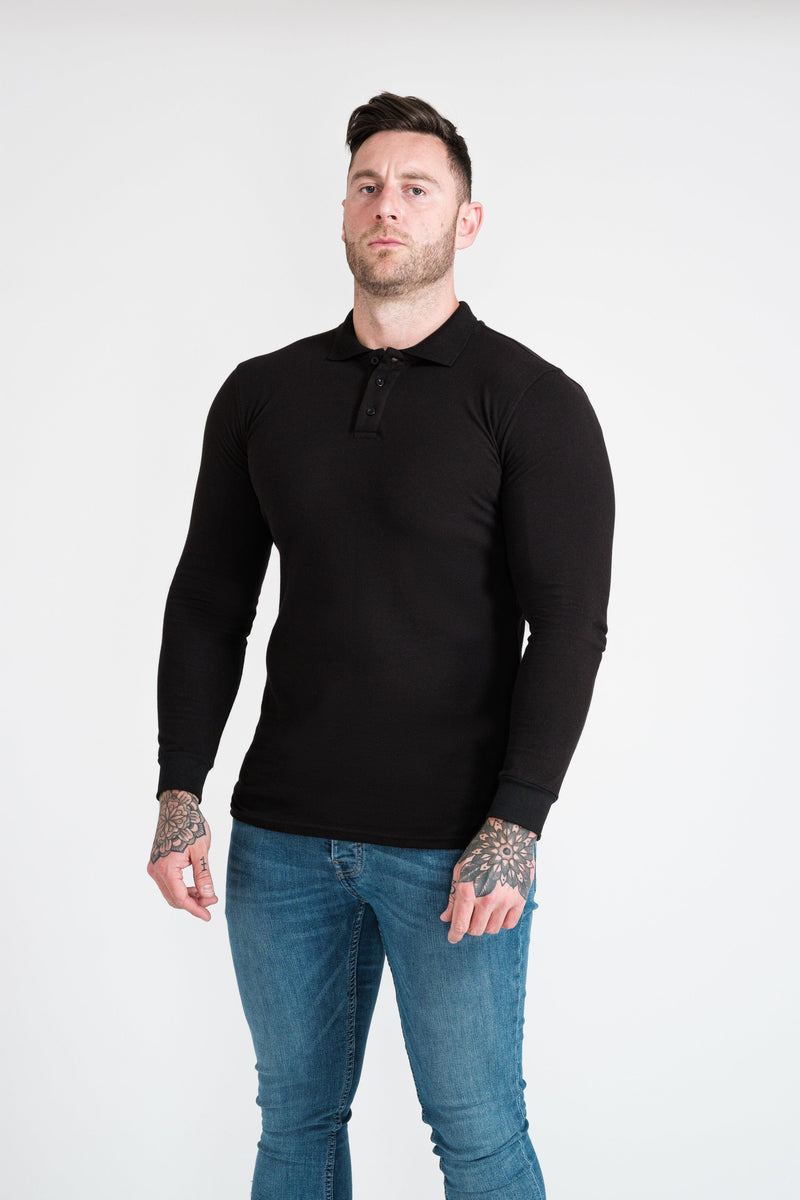 Mens Black Tapered Fit Polo Shirt. A Proportionally Fitted and Muscle Fit Polo Shirt. The best polo shirts for muscular guys.