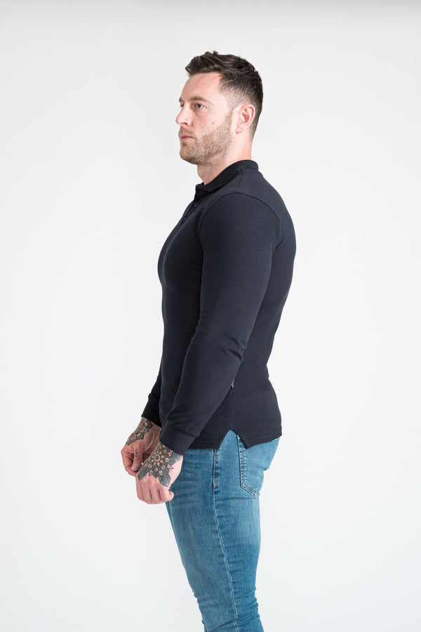 Mens Muscle Fit Polo Shirt. A Proportionally Fitted and Muscle Fit Polo in Navy. Ideal for bodybuilders.