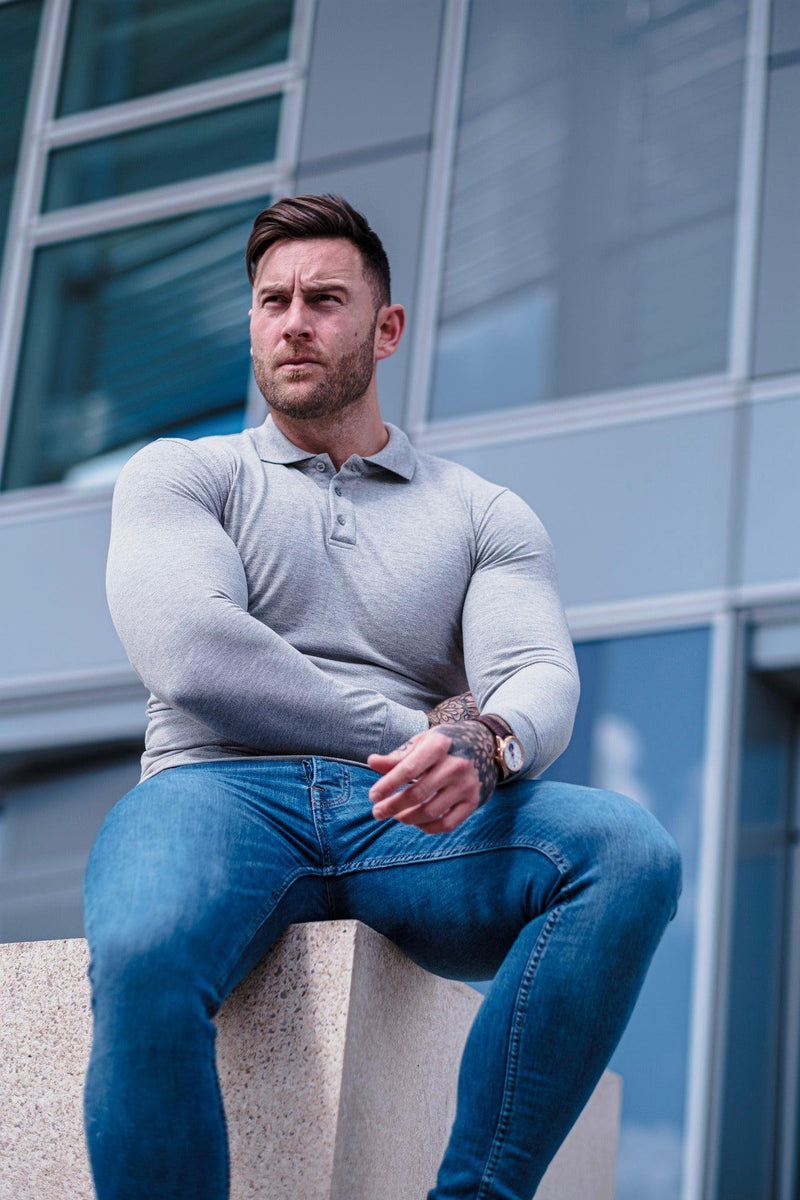 Muscle Fit Grey Polo Shirt. A Proportionally Fitted and Muscle Fit Polo Shirt. Ideal for muscular guys.