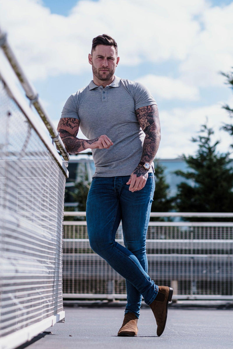 Muscle Fit Polo t shirt grey mens. A Proportionally Fitted and Muscle Fit Polo Shirt. Ideal for muscular guys.