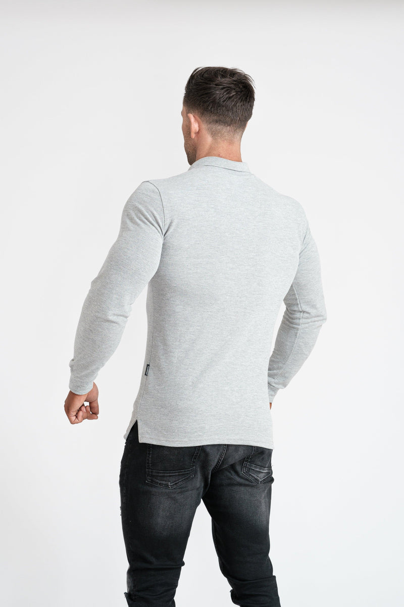 Mens Muscle Fit Grey Polo Shirt. A Proportionally Fitted and Muscle Fit Polo in Long Sleeve. Ideal for bodybuilders.