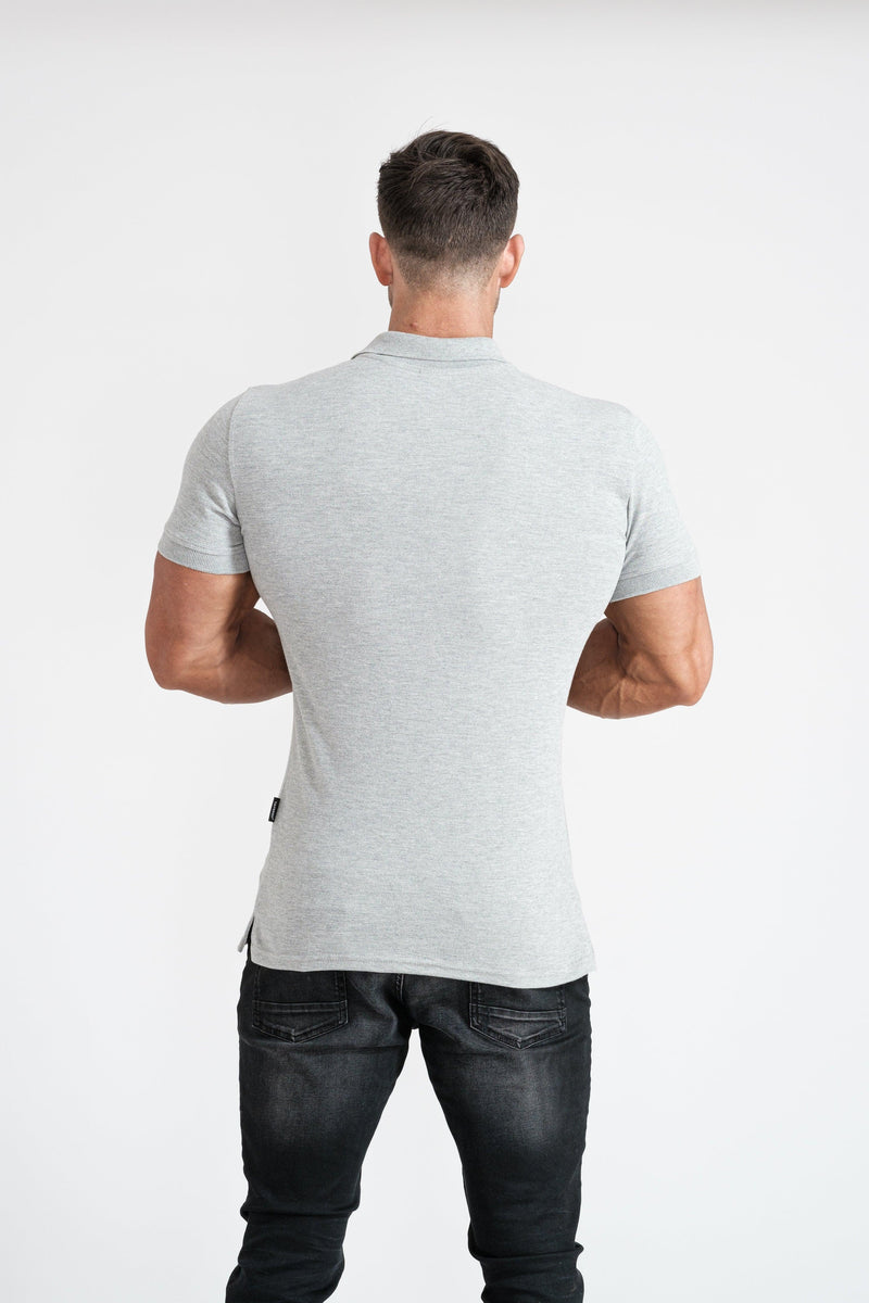 Grey Muscle Fit Polo Shirt For Men. A Proportionally Fitted and Muscle Fit Grey Polo shirt for men. Ideal for muscular guys.
