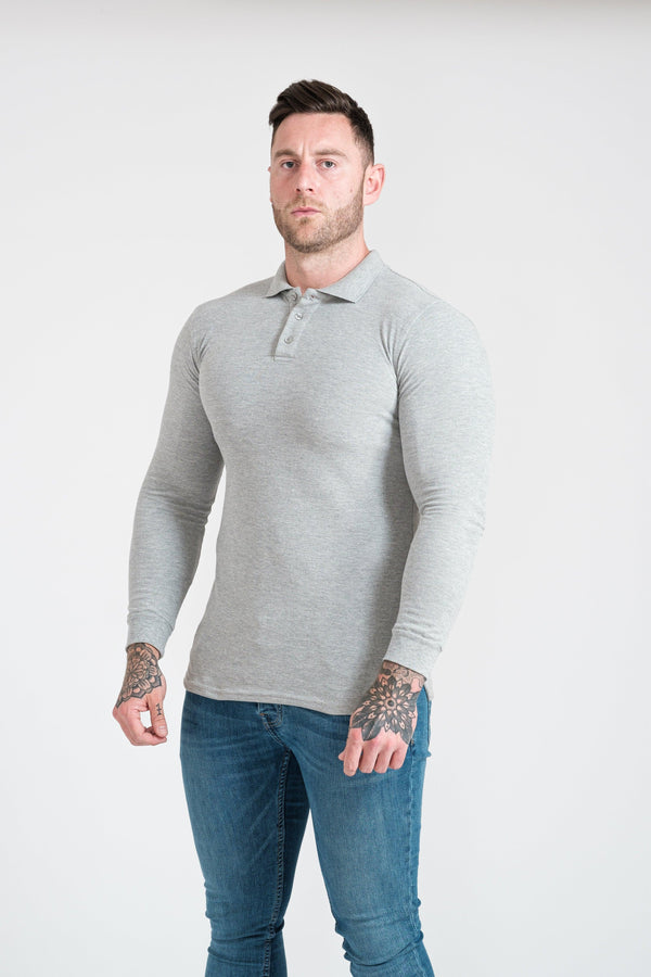 Mens Grey Tapered Fit Polo Shirt. A Proportionally Fitted and Muscle Fit Polo. The best polo shirts for muscular guys.