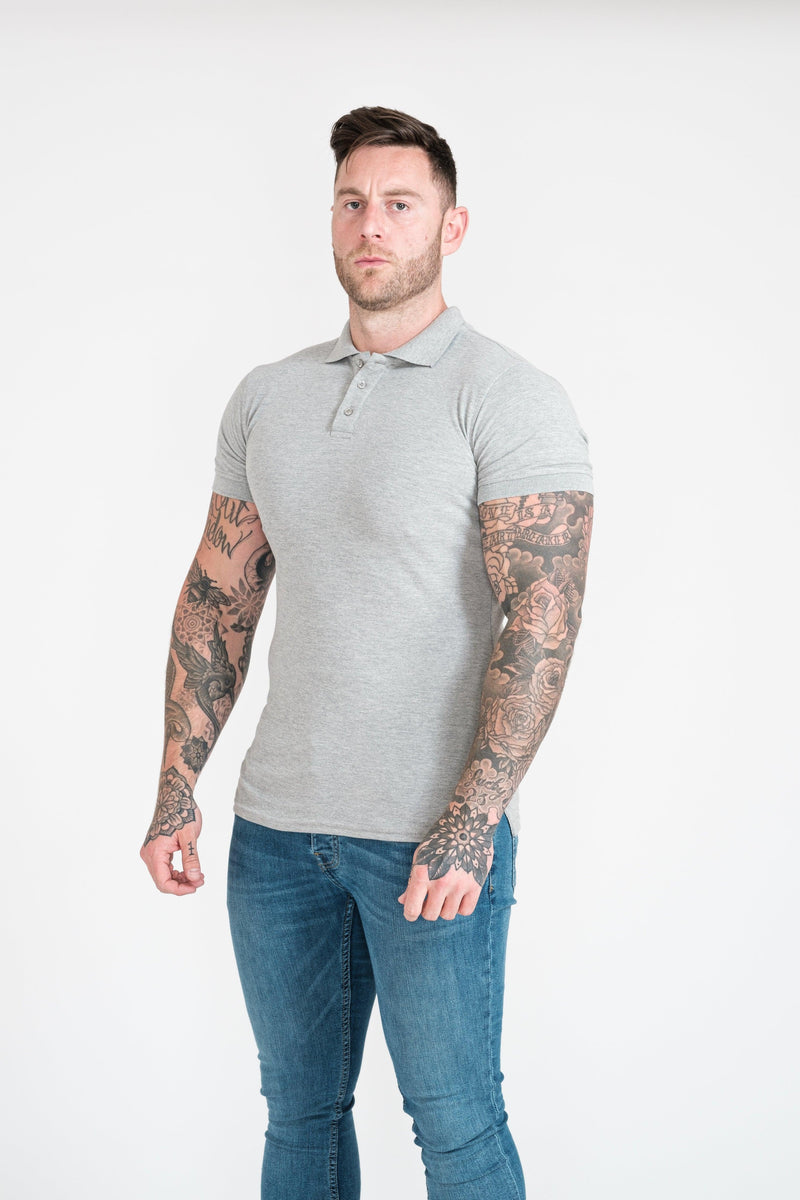 Muscle Fit Polo Shirt For Men in Grey. A Proportionally Fitted and Muscle Fit Polo. Ideal for muscular guys.