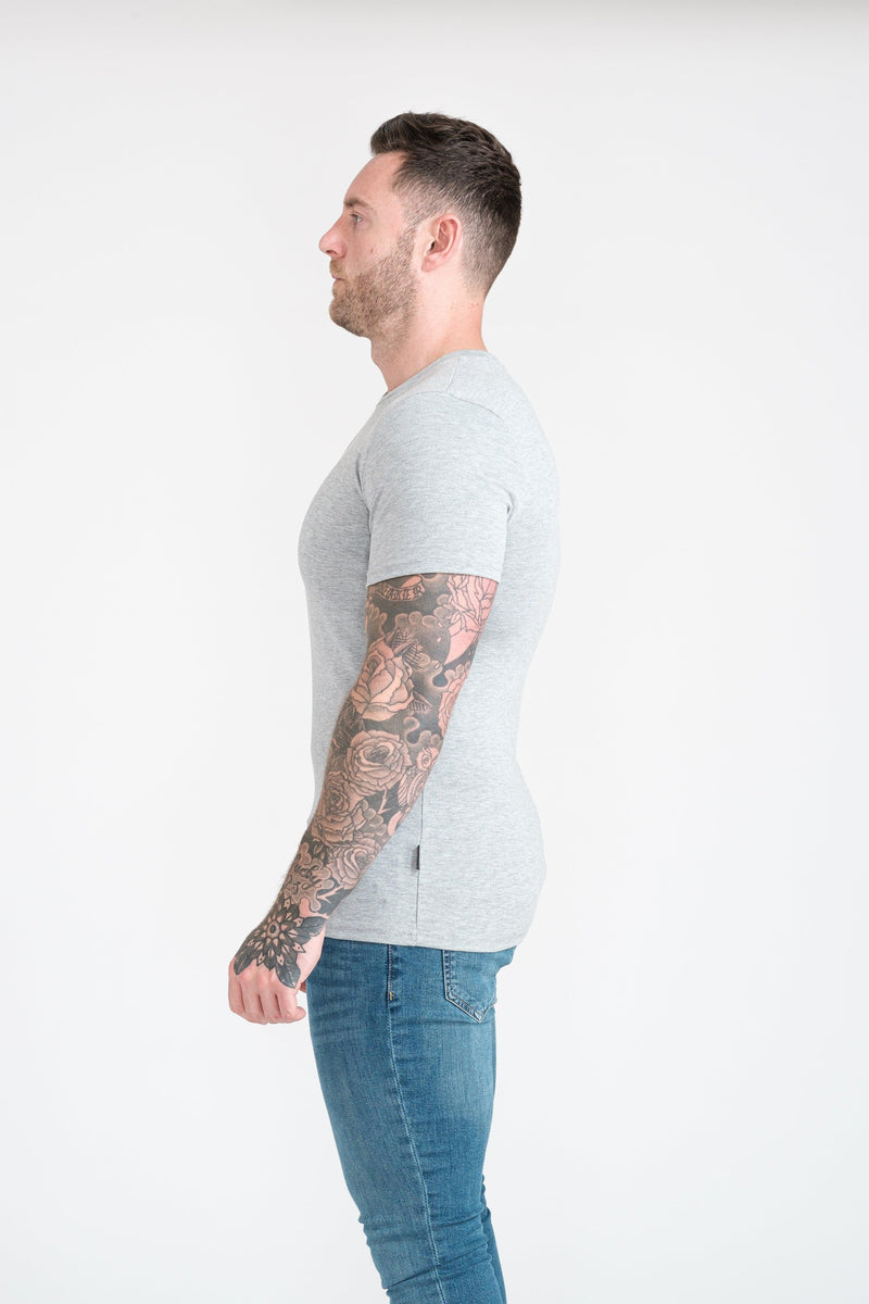 Grey Tapered Fit T-Shirt For Men. A Proportionally Fitted and Athletic Fit T-Shirt. Ideal for bodybuilders.