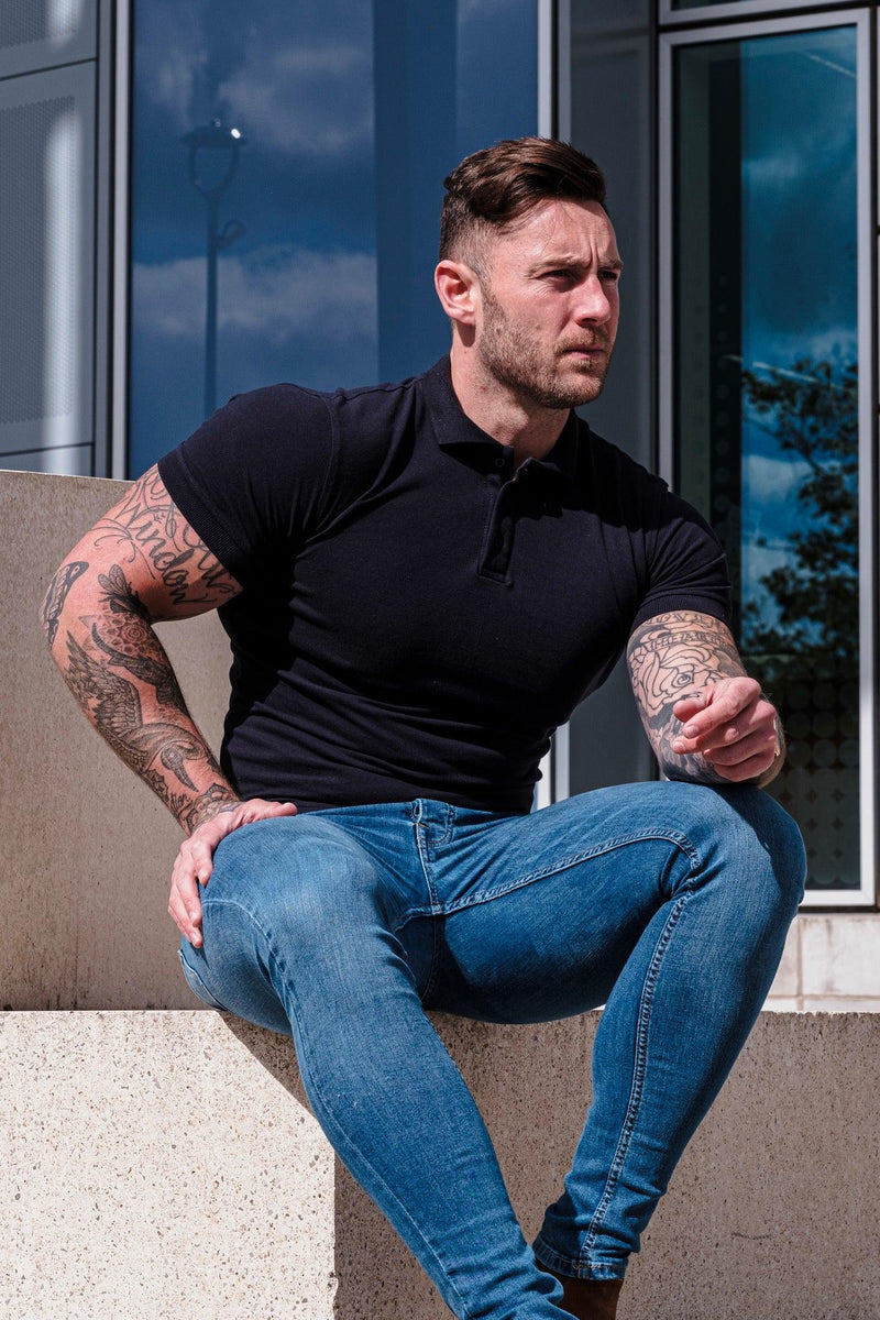 Navy tapered Fit Polo shirt short sleeve. A Proportionally Fitted and Muscle Fit Polo Shirt. Ideal for muscular guys.