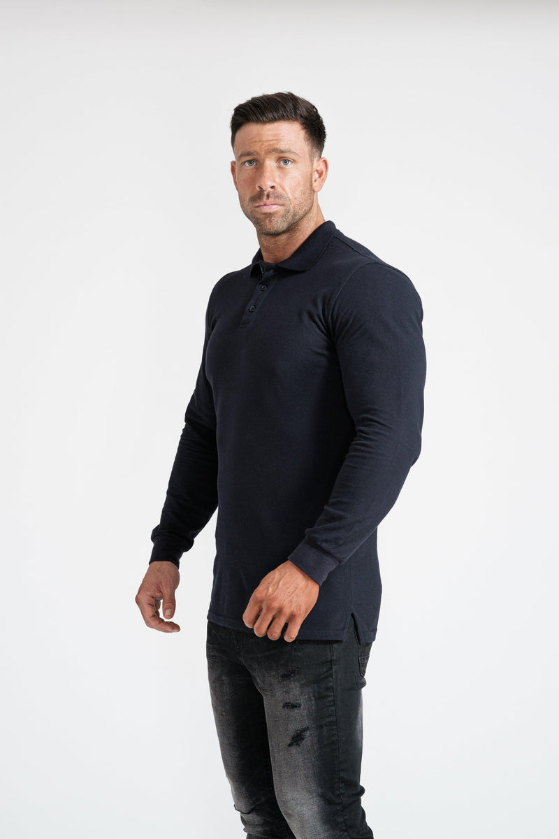 Mens Navy Muscle Fit Polo Shirt. A Proportionally Fitted and Muscle Fit Polo. Ideal for bodybuilders.