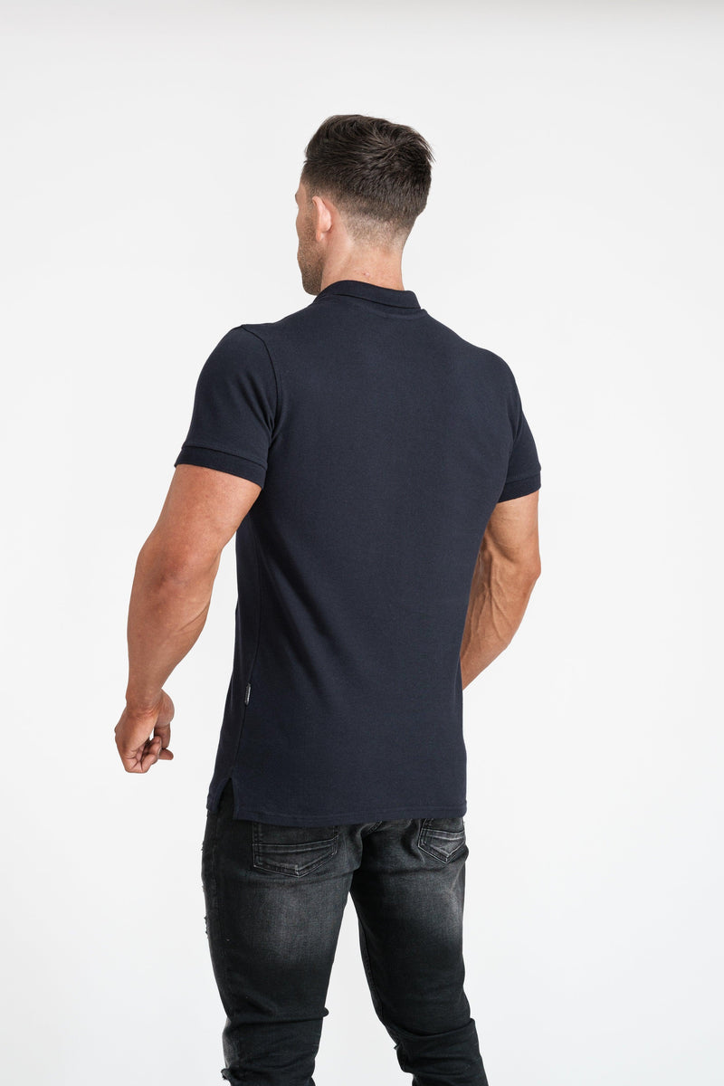 Navy Muscle Fit Polo Short sleeve. A Proportionally Fitted and Muscle Fit Polo. Ideal for muscular guys.