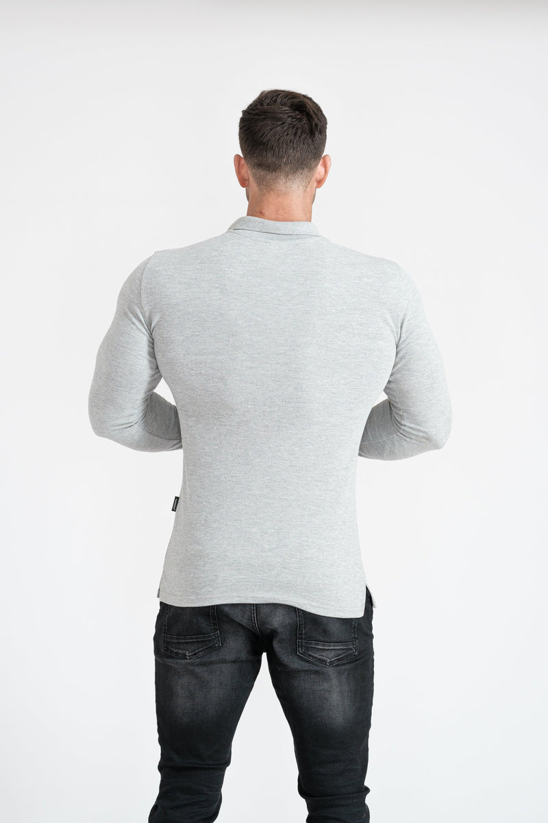 Mens Muscle Fit Grey Polo Shirt. A Proportionally Fitted and Muscle Fit Polo shirt. Ideal for bodybuilders.