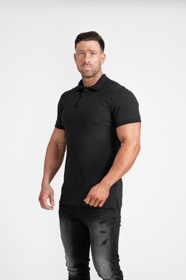 Mens Short Sleeve Muscle Fit Polo Shirt. A Proportionally Fitted and Muscle Fit Polo in Black. The best polo shirts for muscular guys.