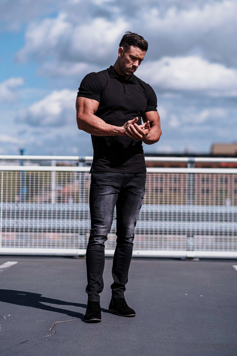 Tapered Fit Black Polo Short sleeve. A Proportionally Fitted and Muscle Fit Polo Shirt. Ideal for muscular guys.