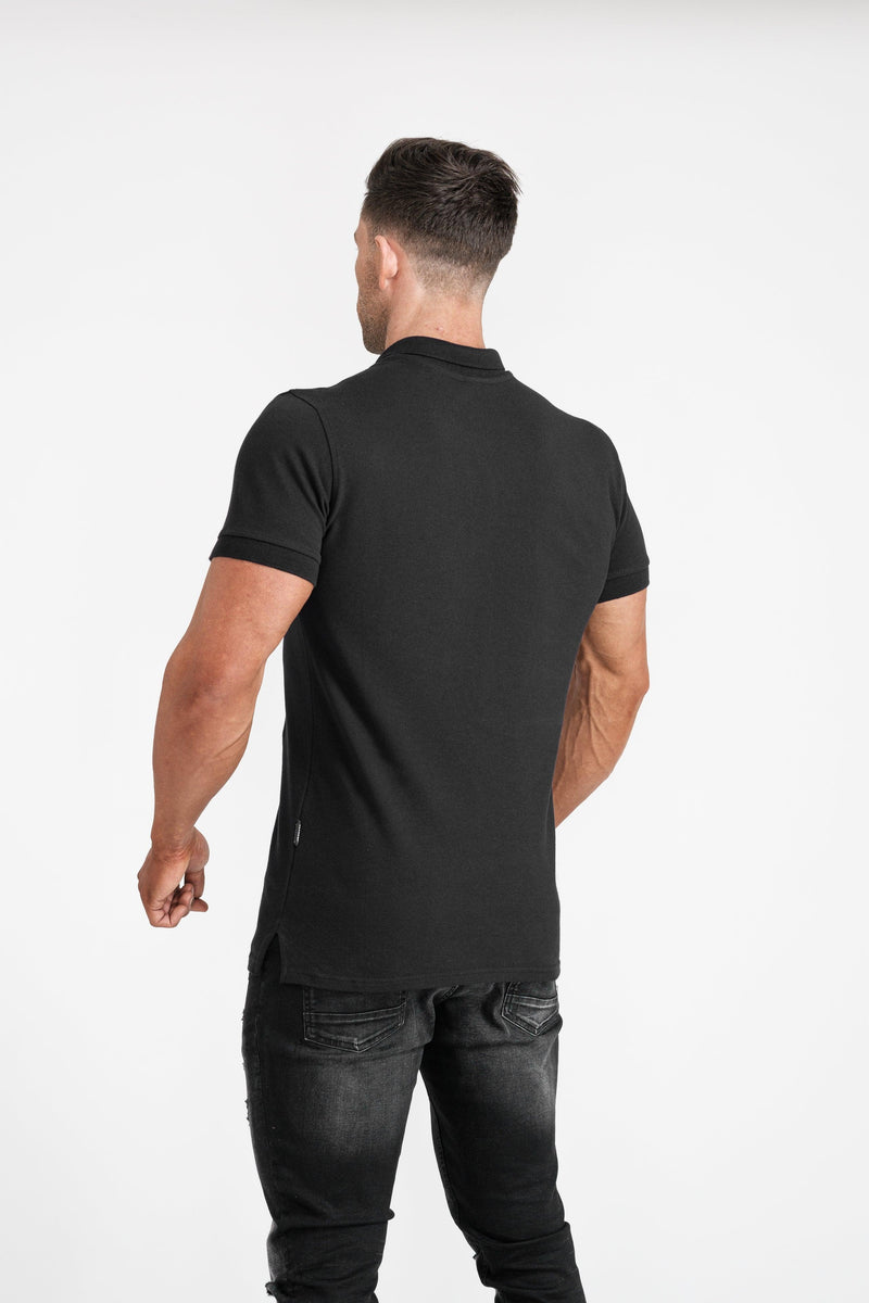 Mens Black Tapered Fit Polo Shirt. A Proportionally Fitted and Muscle Fit T Shirt. Ideal for muscular guys.